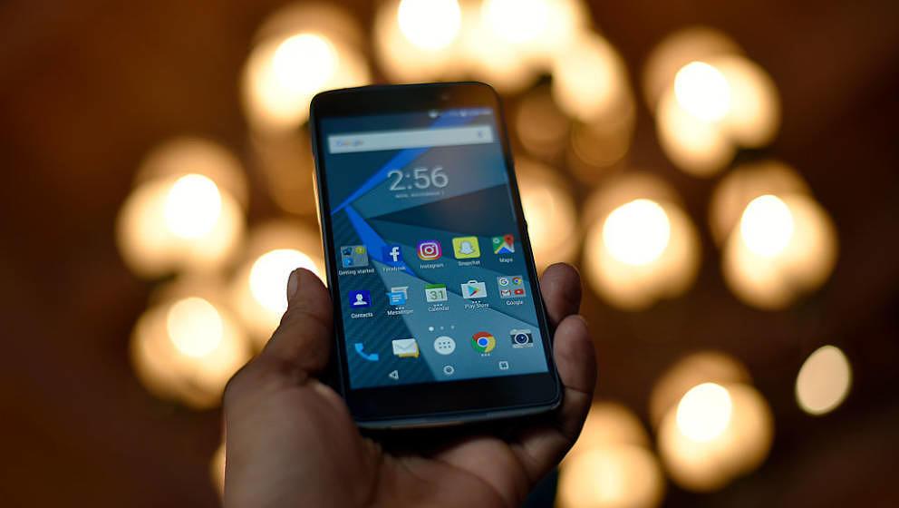 NEW DELHI, INDIA - NOVEMBER 7: Blackberry launches two new mobile phone DTEK50 and DTEK60 at Taj Mansingh Hotel on November 7