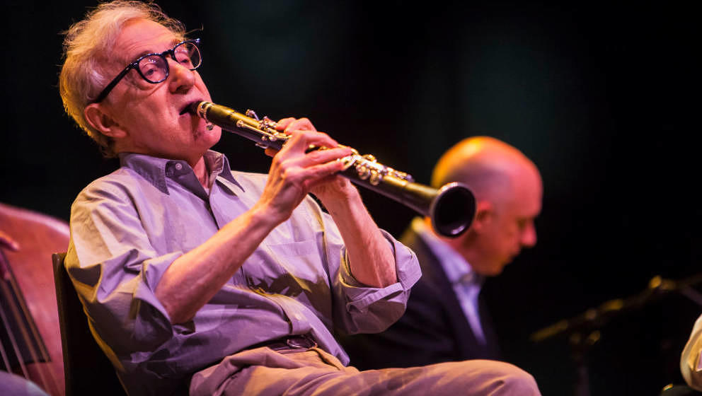 LONDON, ENGLAND - JULY 02:  Woody Allen performs with his New Orleans Jazz Band at Royal Albert Hall on July 2, 2017 in Londo