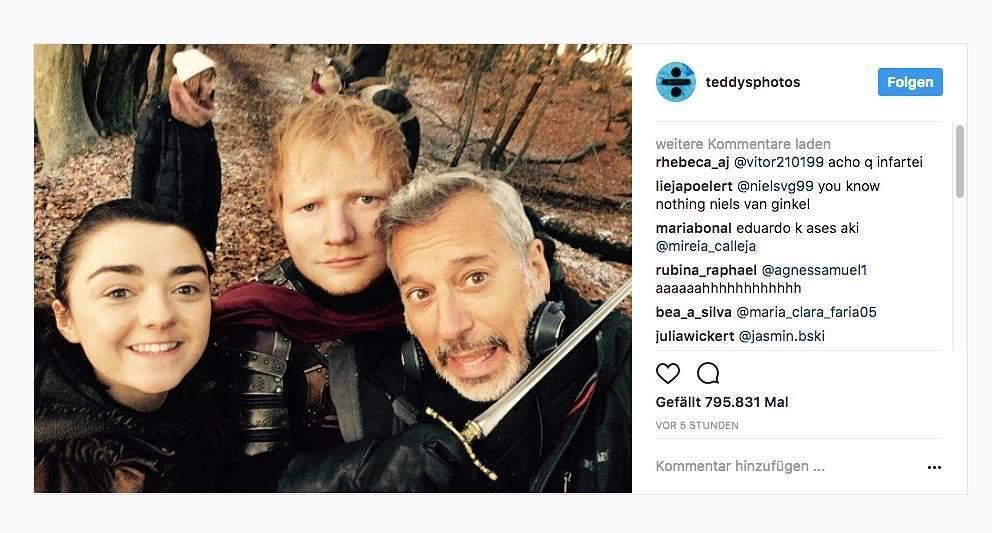 """Kopfhörer in Westeros? Ed Sheeran postete ein Behind-The-Scenes-Foto von """"Game Of Thrones"""" auf Instagram"""