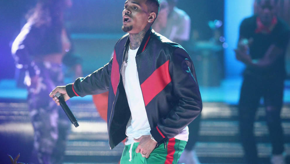 LOS ANGELES, CA - JUNE 25:  Chris Brown performs onstage at 2017 BET Awards at Microsoft Theater on June 25, 2017 in Los Ange