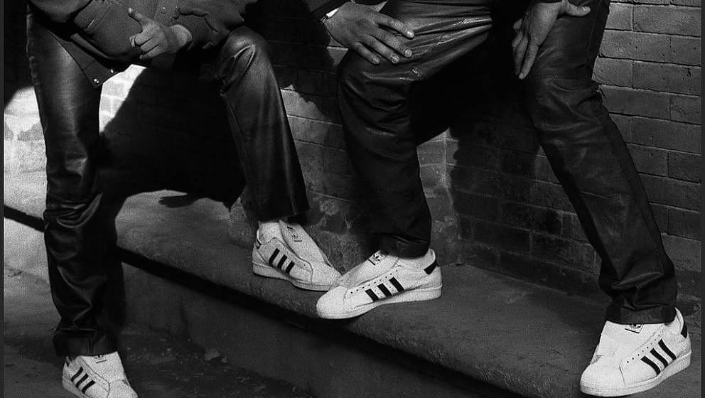 Close-up view of the Adidas sneakers worn by Run DMC's Joseph 'Run' Simmons and Darryl 'D.M.C.' McDaniels, New York, early 19