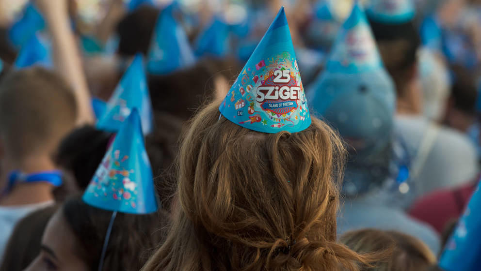 BUDAPEST, HUNGARY - AUGUST 13:  Festival goers enjoy Birthday celebrations of Sziget Festival as it celebrates its 25th birth