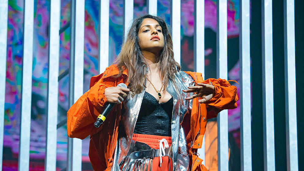 PARIS, FRANCE - OCTOBER 29:  M.I.A. performs at Pitchfork Festival  at Grande Halle de La Villette on October 29, 2016 in Par