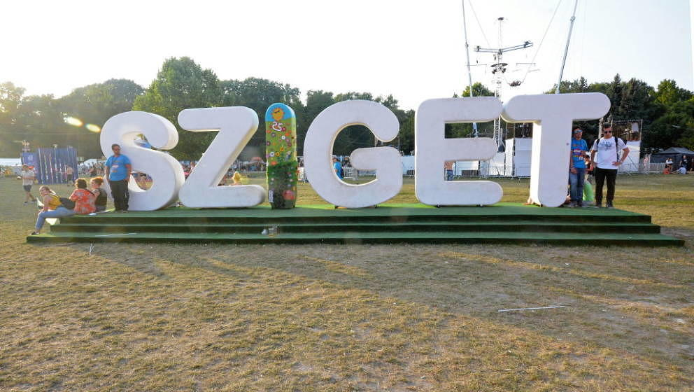 BUDAPEST, HUNGARY - AUGUST 11:  General view on the Sziget sign where people pose for a picture on August 11, 2017 in Budapes