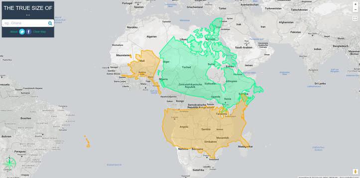 Afrika ist so groß wie Kanada, die USA und Europa