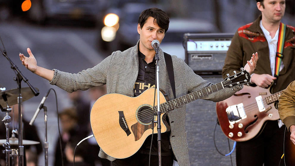 NEW YORK, NEW YORK - APRIL 13:  Ezra Koenig of Vampire Weekend speaks onstage during a campaign event for Democratic presiden