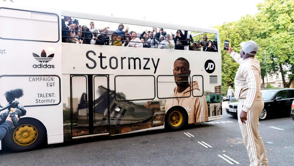 LONDON, ENGLAND - SEPTEMBER 8: In this handout image provided by adidas, Stormzy celebrates his new EQT campaign for adidas,