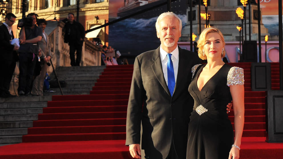 LONDON, ENGLAND - MARCH 27:  Director James Cameron (L) and actress Kate Winslet attend the 'Titanic 3D' world premiere at th