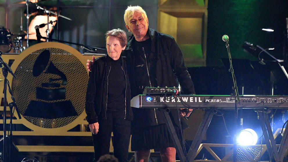 NEW YORK, NY - JULY 11:  Honorees Moe Tucker and John Cale of The Velvet Underground attend the GRAMMY Salute to Music Legend