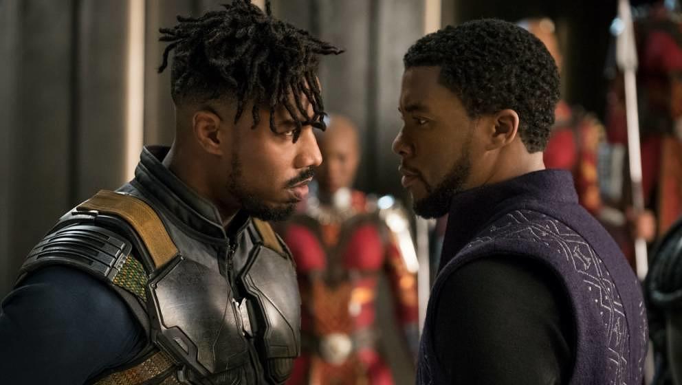 """Michael B. Jordan (l.) und Chadwick Boseman in """"Black Panther""""."""