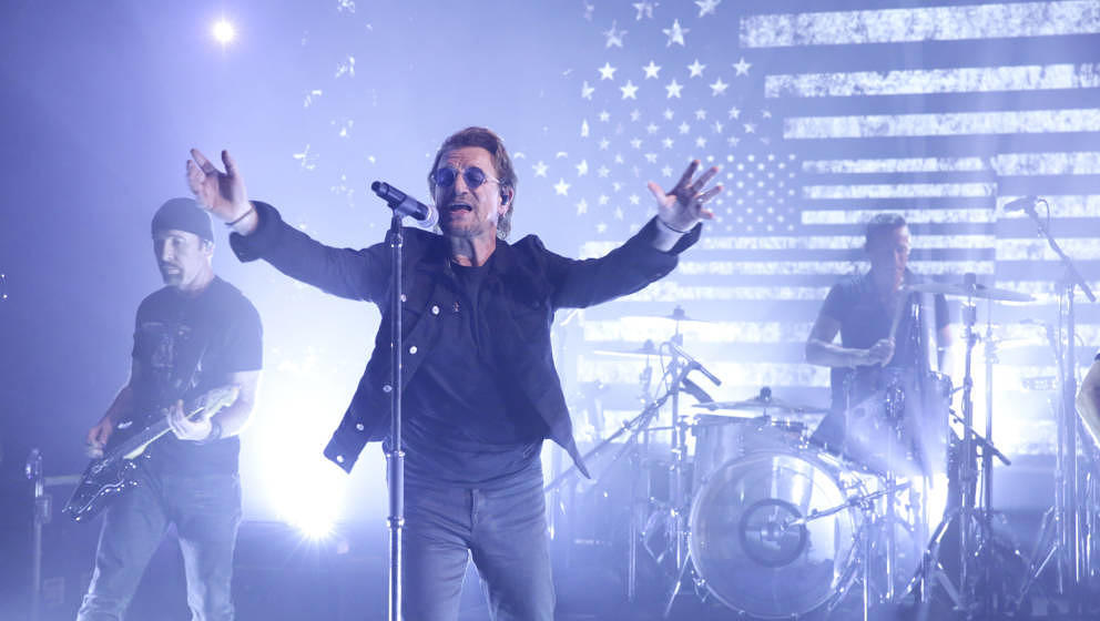 THE TONIGHT SHOW STARRING JIMMY FALLON -- Episode 0732 -- Pictured: (l-r) Musicians The Edge, Bono, and Larry Mullen Jr. of U
