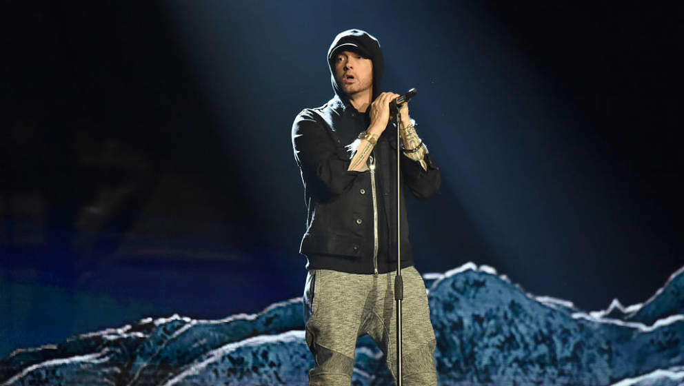 LONDON, ENGLAND - NOVEMBER 12:  Eminem performs on stage during the MTV EMAs 2017 held at The SSE Arena, Wembley on November