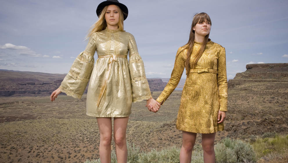 GEORGE, WA - MAY 24: Johanna Soderberg and Klara Soderberg of First Aid Kit pose for a portrait backstage on day 2 of Sasquat