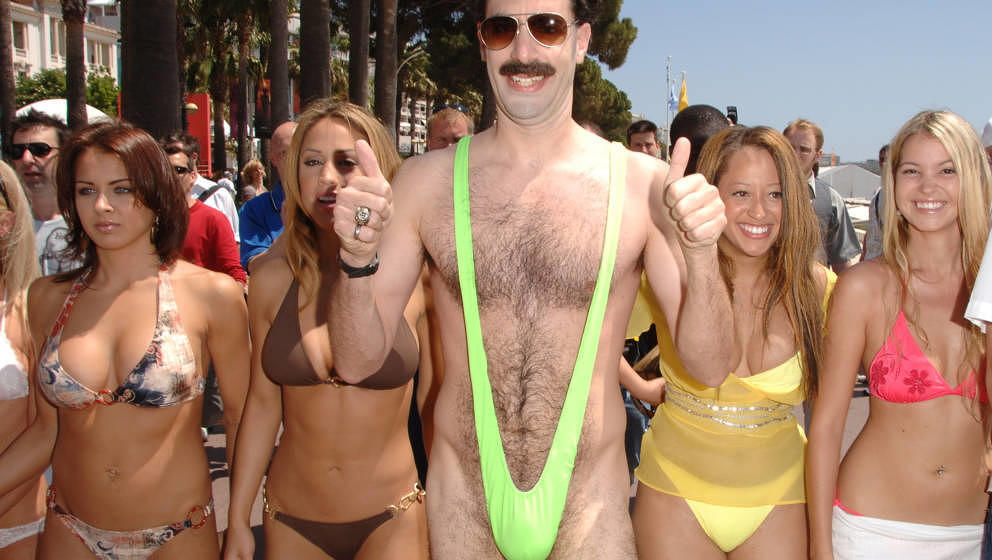 Sacha Baron Cohen as 'Borat' at the Cannes Beach in Cannes, France. (Photo by George Pimentel/WireImage)