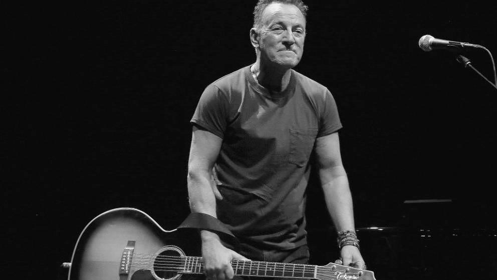 NEW YORK, NY - OCTOBER 12: (EDITORS NOTE: Image has been converted to black and white)  Bruce Springsteen takes his opening n
