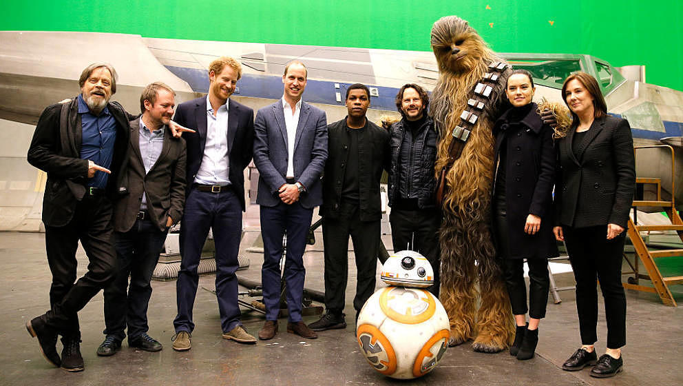 IVER HEATH, ENGLAND - APRIL 19: (L-R) US actor Mark Hamill, US director Rian Johnson, Britain's Prince Harry, Britain's Princ