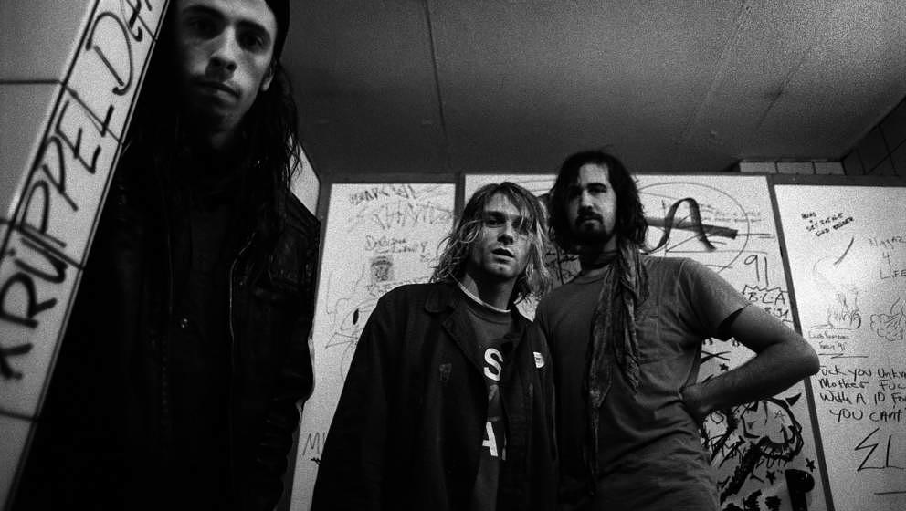 Dave Grohl, Kurt Cobain, Krist Novoselic: Nirvana 1991 backstage in Frankfurt/Main