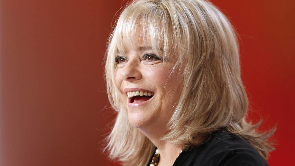 French singer France Gall takes part in the TV show 'Le grand journal' on a set of French TV Canal+, on October 30, 2012 in P