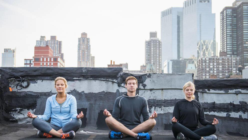 New York, Skyline, Meditation, Menschen beim Meditieren