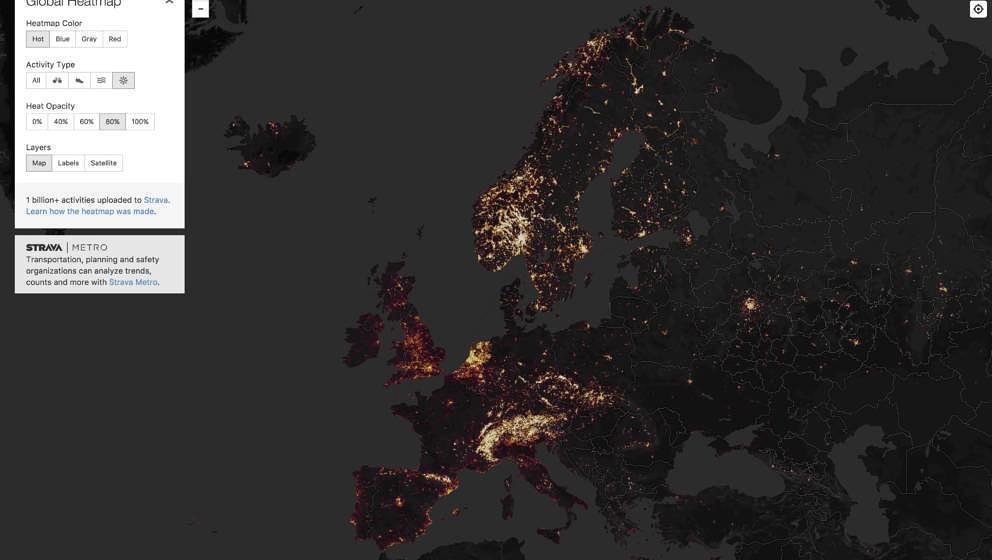 Die Global Heatmap von Strava zeigt alle öffentlichen Aktivitäten der Nutzer