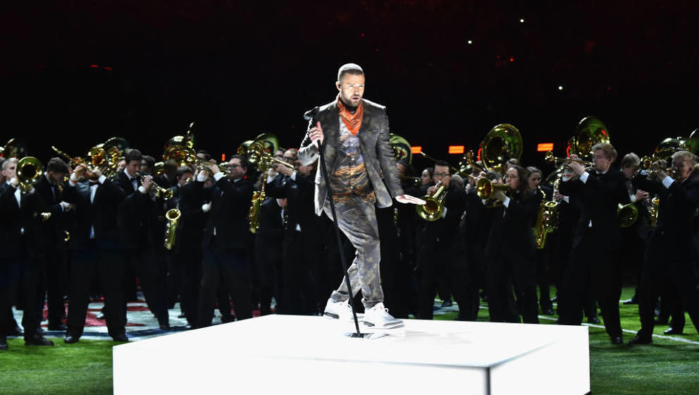 Recording artist Justin Timberlake performs onstage during the Pepsi Super Bowl LII Halftime Show at U.S. Bank Stadium on Feb