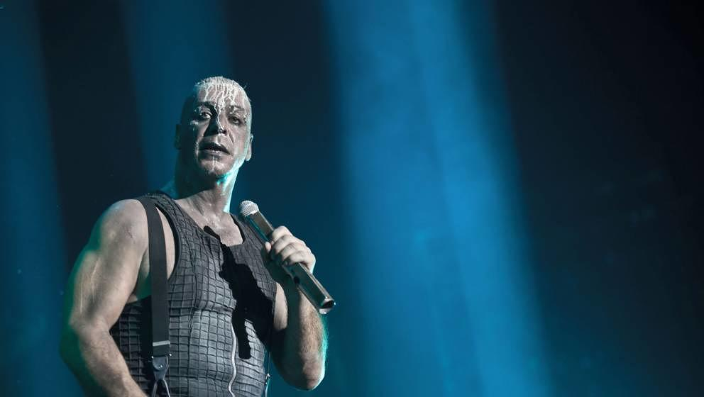 The German industrial metal band Rammstein performs a live concert at Forum in Copenhagen. Here the bands characteristic voca