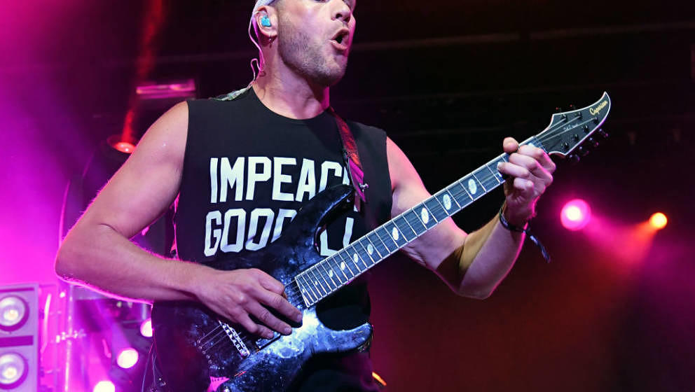 LAS VEGAS, NV - APRIL 21:  Guitarist Adam Dutkiewicz of Killswitch Engage performs during the Las Rageous music festival at t