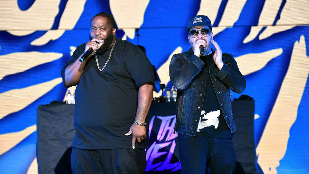 INGLEWOOD, CA - DECEMBER 09:  (L-R) Rappers Killer Mike and EL-P of Run the Jewels perform onstage during KROQ Almost Acousti