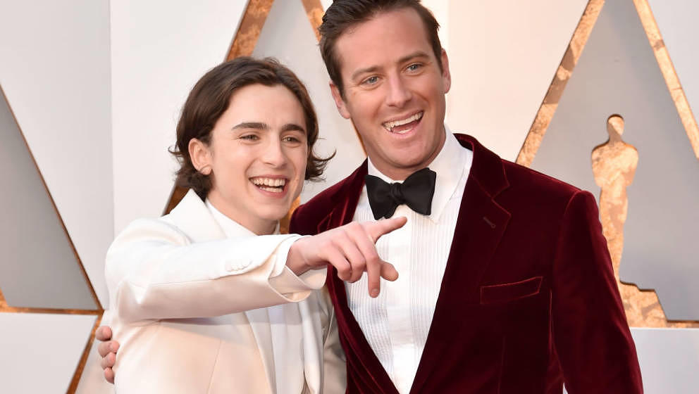 HOLLYWOOD, CA - MARCH 04:  Timothee Chalamet (L) and Armie Hammer attend the 90th Annual Academy Awards at Hollywood & Hi