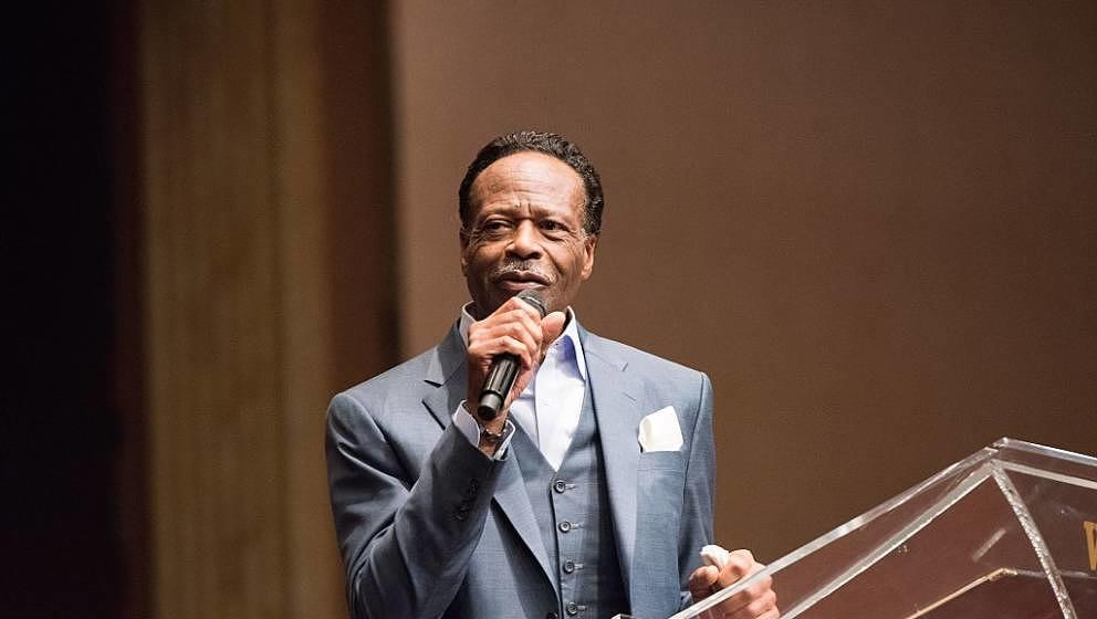 LOS ANGELES, CA - JANUARY 21:  Gospel Singer Edwin Hawkins speaks at the Andrae Crouch Memorial Celebration Of Life Event at