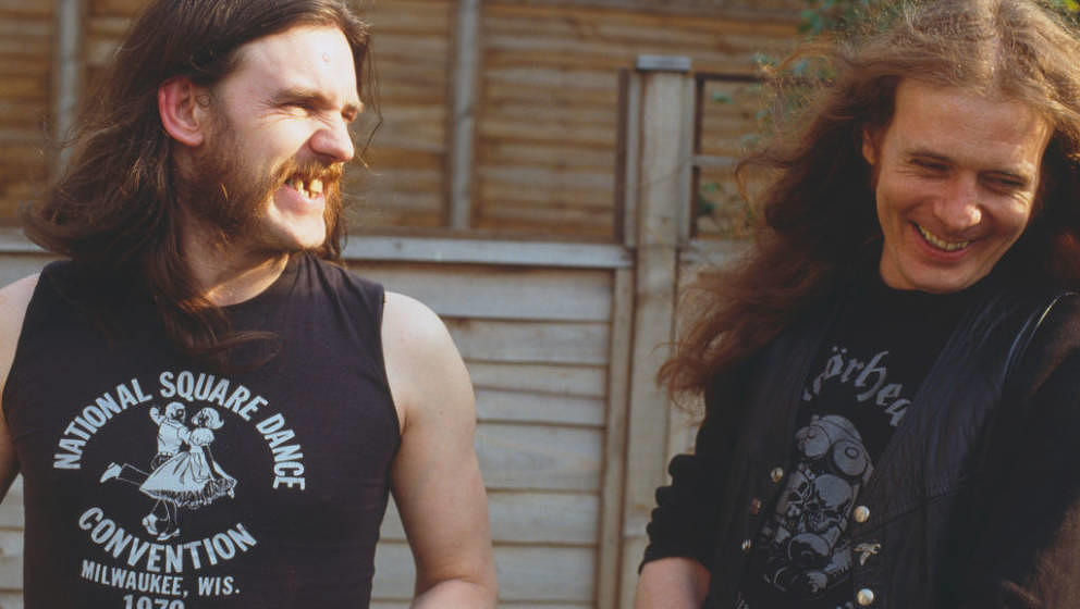 English bassist and singer Ian 'Lemmy' Kilmister (1945 - 2015) pictured with guitarist 'Fast' Eddie Clarke of heavy rock grou