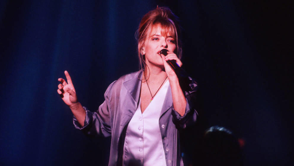 French singer France Gall (1947 - 2018) performs on stage at Vorst Nationaal, Brussels, Belgium, 11th November 1993. (Photo b