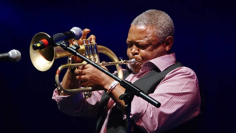 Hugh Masekela, Love Supreme Jazz Festival, Glynde Place, East Sussex, 2015. Artist: Brian O'Connor. (Photo by Jazz Services/H