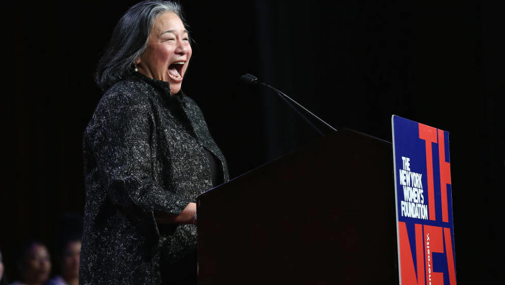 NEW YORK, NY - MAY 11:  Tina Tchen speaks onstage during the 30th Anniversary Celebrating Women Breakfast at Marriott Marquis