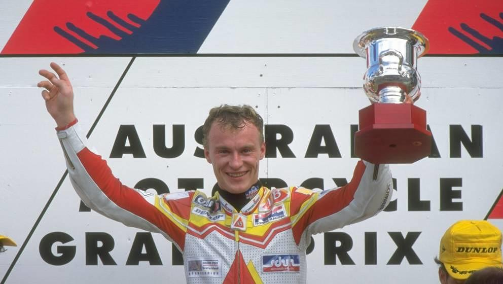 26 Mar 1995:  Ralf Waldmann of Germany celebrates his first 250cc victory during the Australian Grand Prix at the Eastern Cre
