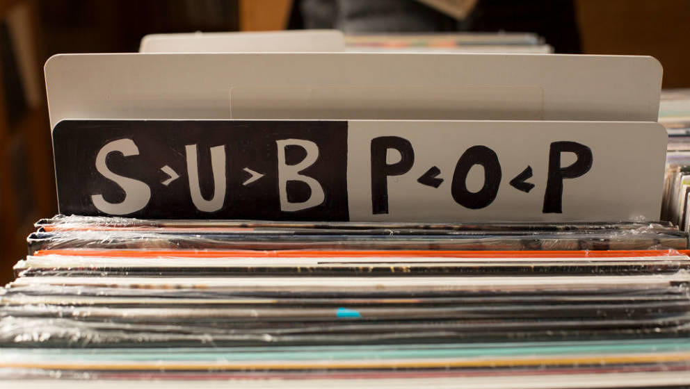 SEATTLE, WA - MAY 18: A sign for Sub Pop Records, which signed the group Soundgarden, is seen at Light In The Attic Records i