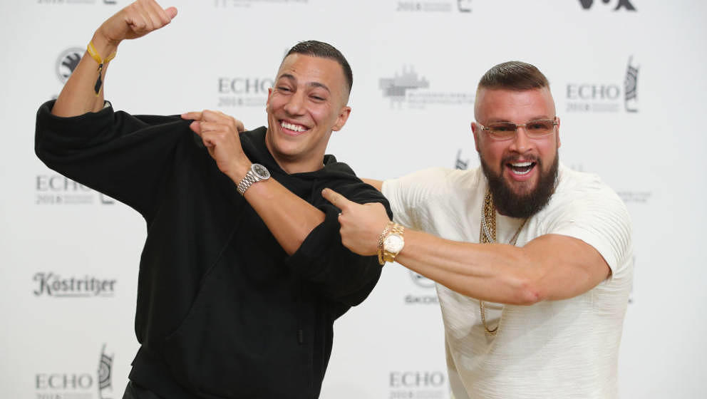 BERLIN, GERMANY - APRIL 12:  Kollegah and Farid Bang arrive for the Echo Award at Messe Berlin on April 12, 2018 in Berlin, G