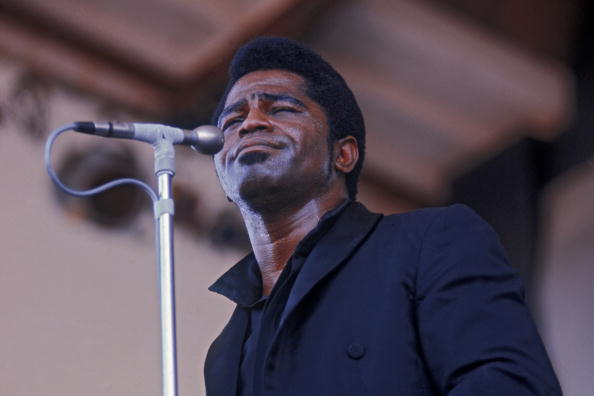 American singer, songwriter and bandleader James Brown (1933 - 2006) performing at the Newport Jazz Festival, circa 1968. (Ph
