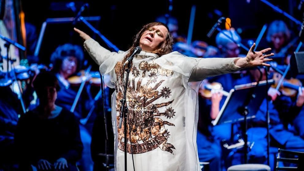English- born singer Anohni performs with the Aarhus Symphony Orchestra in the Aarhus Music Hall, Denmark, on November 18, 20