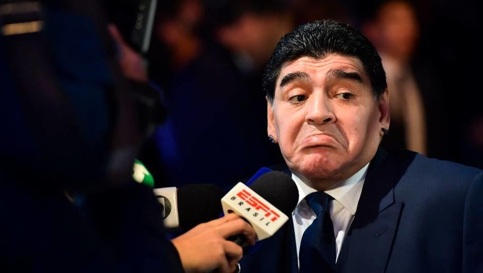 Argentinian former player Diego Maradona gives an interview as he arrives for The Best FIFA Football Awards ceremony, on Octo