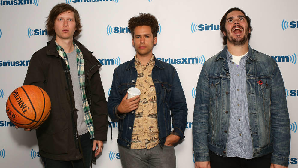 NEW YORK, NY - MAY 15:  (L-R) Musicians Austin Brown, Andrew Savage and Sean Yeaton of Parquet Courts visit SiriusXM Studios