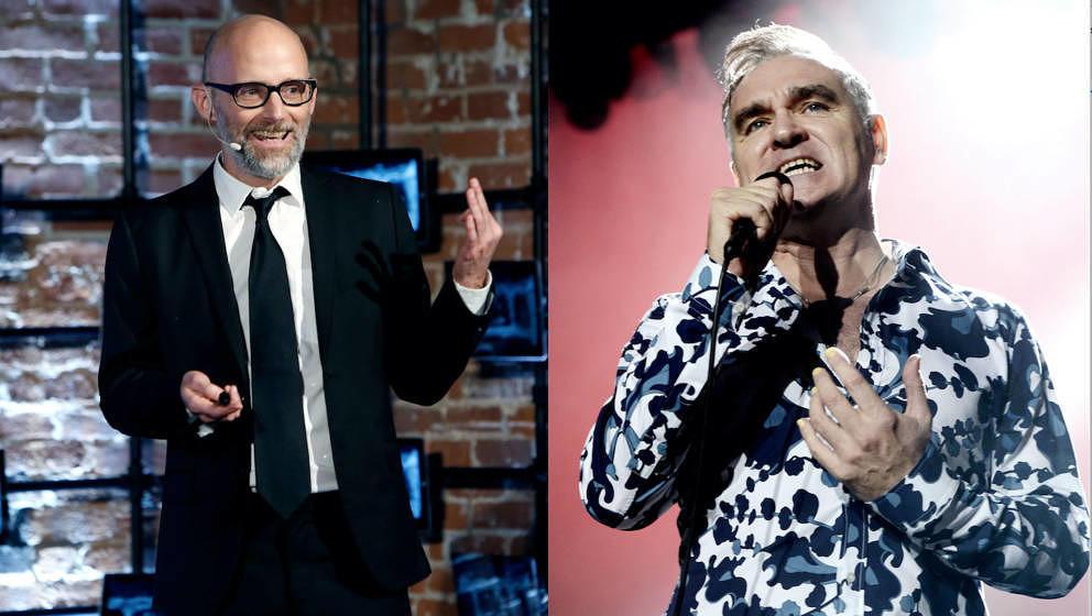 Moby (l.) hat wohl ein gespaltenes Verhältnis zu Morrissey.
