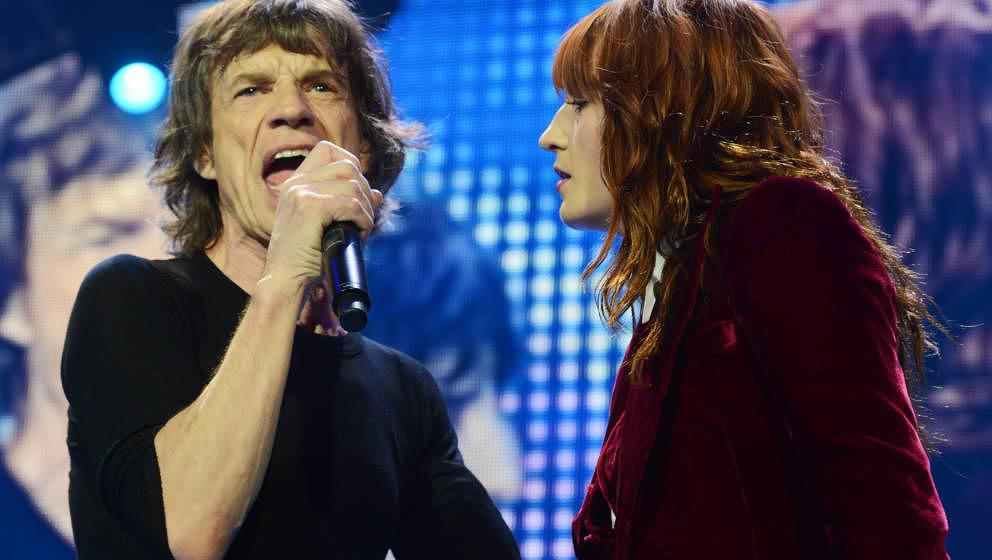 Sangen schon einmal zusammen: Mick Jagger von den Rolling Stones live mit Florence Welch in London am 29. November 2012