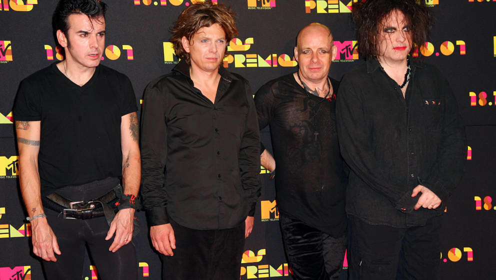 Musicians Simon Gallup, Jason Cooper, Porl Thompson and Robert Smith of The Cure arrives during Los Premios MTV Latin America