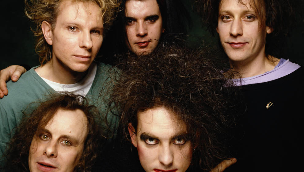 British alternative rock band The Cure at the 1991 Brit Awards where they won Best British Band. Clockwise from bottom left g