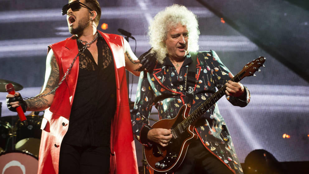 BARCELONA, SPAIN - JUNE 10:  Adam Lambert and Brian May of Queen perform on stage at Palau Sant Jordi on June 10, 2018 in Bar