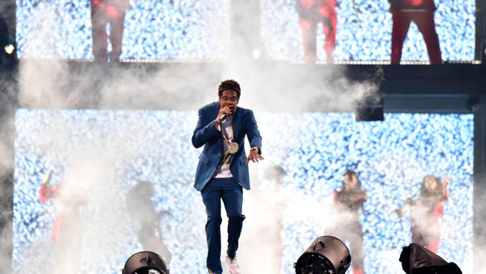 GLASGOW, SCOTLAND - JUNE 09:  Jay-Z performs on stage during the 'On the Run II' Tour with Beyonce at Hampden Park on June 9,