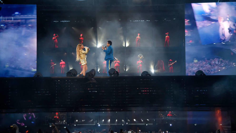 GLASGOW, SCOTLAND - JUNE 09:  Beyonce and Jay-Z perform together on stage during the 'On the Run II' Tour at Hampden Park on