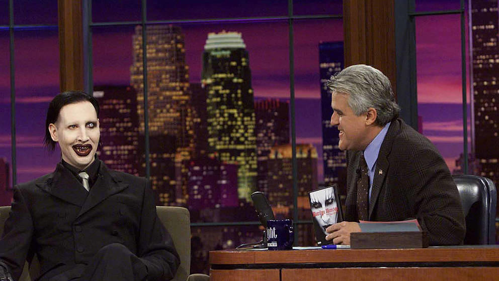 THE TONIGHT SHOW WITH JAY LENO -- Episode 2361 -- Pictured: (l-r) Musician Marilyn Manson during an interview with host Jay L