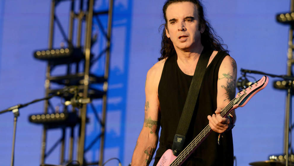 LONDON, ENGLAND - JULY 07:  Simon Gallup of The Cure performs on stage as Barclaycard present British Summer Time Hyde Park a